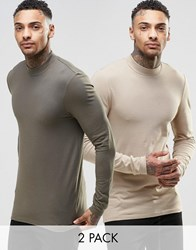 Asos Muscle Long Sleeve T Shirt With Turtle Neck 2 Pack Save 21 Multi