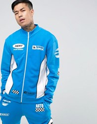 Jaded London Track Jacket In Blue With Racing Print Blue