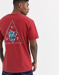 Huf Dystopia Triple Triangle T Shirt With Floral Back Print In Red