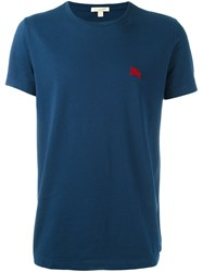 Burberry Embroidered Logo T Shirt Blue