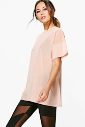 Boohoo Fit Oversized Mesh Workout Tee Pink