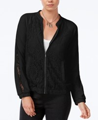 Bar Iii Lace Bomber Jacket Only At Macy's Deep Black