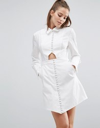C Meo Collective Let It Go Long Sleeve Shirt Dress White