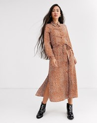 Monki Dot Print Tie Waist Midi Shirt Dress In Rust Brown