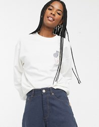 Monki Mouse Heart Embroidered Sweat In White