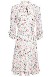 Mikael Aghal Woman Pussy Bow Floral Print Crepe Dress White