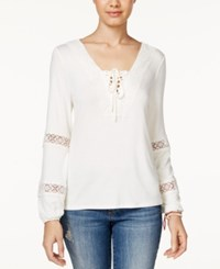 American Rag Lace Trim Long Sleeve Peasant Top Only At Macy's Off White