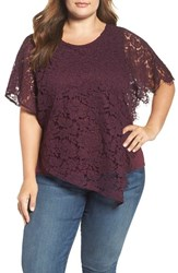 Democracy Plus Size Women's Flutter Sleeve Asymmetrical Lace Top