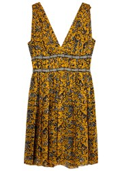 Etoile Isabel Marant Balzan Printed Silk Chiffon Dress Yellow