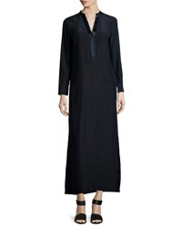 Vince Long Sleeve Silk Satin Maxi Dress Navy