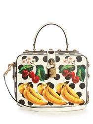 Dolce And Gabbana Box Polka Dot Print Leather Bag Black Multi