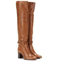Chloe Over The Knee Leather Boots Brown