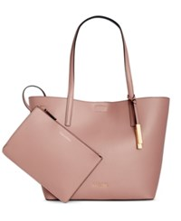 Calvin Klein Leather Reversible Tote With Pouch Deep Blush Black