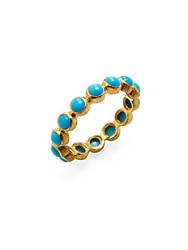 Adornia Turquoise And 18K Yellow Gold Sleeping Beauty Eternity Band Ring