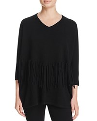 Bloomingdale's C By Fringe Trimmed Cashmere Sweater Black