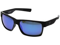 Costa Half Moon Shiny Black Matte Black Ocearch Athletic Performance Sport Sunglasses Blue