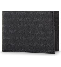 Armani Jeans Monogram Textured Leather Billfold Wallet Black
