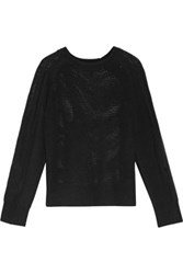 Raquel Allegra Distressed Open Knit Merino Wool And Cashmere Blend Sweater Black