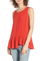 Hinge Women's Asymmetrical Hem Tank Red Bloom