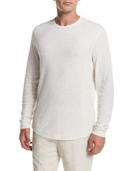 Vince Raw Edge Crewneck Sweatshirt White