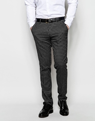 Vito Check Suit Trousers In Skinny Fit Black