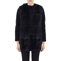 Barneys New York Women's Mink And Raccoon Fur Coat Black Blue Black Blue