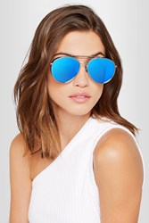 Gentle Monster Big Bully Aviator Style Silver Tone Mirrored Sunglasses Blue