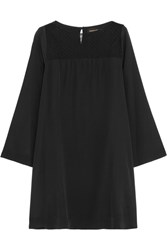 Vanessa Seward Dream Tulle Paneled Silk Crepe De Chine Mini Dress Black