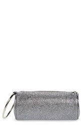 Kara Crinkled Metallic Leather Duffel Wristlet Clutch Metallic Pyrite
