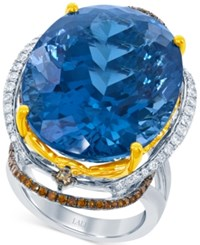 Lali Jewels London Blue Topaz 49 Ct. T.W. And Diamond 7 8 Ct. T.W. Ring In 18K White And Yellow Gold