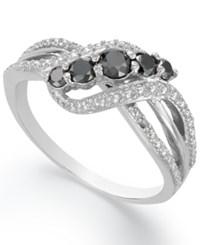 Victoria Townsend Sterling Silver Ring Black Diamond Crisscross Ring 1 2 Ct. T.W.