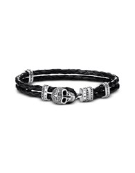Thomas Sabo Men's Bracelets Blackened 925 Sterling Silver And Leather Skull With Lily Double Bracelet