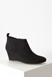 Forever 21 Faux Suede Wedge Booties Black