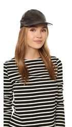 Kate Spade Leather Baseball Cap With Bow Detail Black
