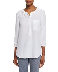 Nydj 3 4 Sleeve Pleated Back Blouse Women's Optic White