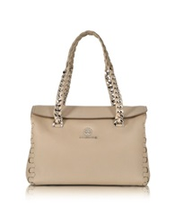 Roberto Cavalli Small Leather Satchel Sand