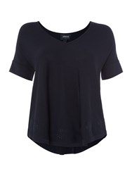 Armani Jeans Floaty Top With Embroidered Detailing Navy