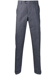 Fay Tailored Trousers Men Cotton 46 Blue