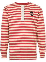 Kent And Curwen Striped Longlseeved T Shirt Red