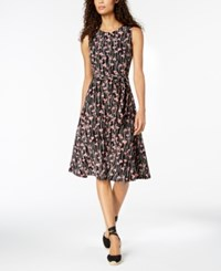 Charter Club Printed Fit And Flare Dress Created For Macy's Deep Black Floral Combo