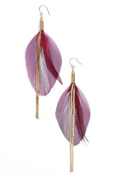 Serefina Women's Vintage Feather Drop Earrings Lilac Gold