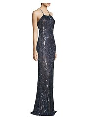 Basix Black Label Fitted Sequin Gown Navy