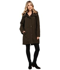 Vince Camuto Faux Fur Trim Parka L1051 Olive Navy Women's Coat Multi