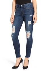 Good American Plus Size Women's Legs Destroyed Skinny Jeans Blue 003