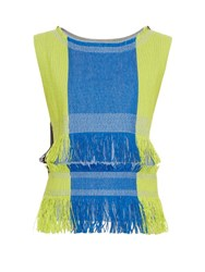 Issey Miyake Parrot Fringed Top Blue Multi