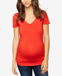 A Pea In The Pod Maternity Ruched T Shirt Vintage Red