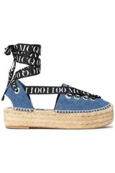 Mcq By Alexander Mcqueen Lace Up Printed Grosgrain Trimmed Denim Espadrilles Mid Denim