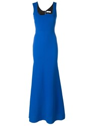 Victoria Beckham Irregular Neckline Dress Blue