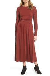 Treasure And Bond 'S Ruched Jersey Knit Dress Rust Madder