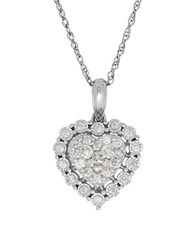 Lord And Taylor 0.50 Tcw Diamonds 14K White Gold Heart Pendant Necklace